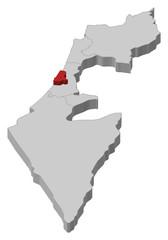 Map of Israel, Tel Aviv highlighted