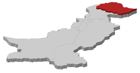 Map of Pakistan, Gilgit-Baltistan highlighted