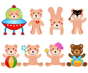 Cartoon of cute Vector Bears in different positions