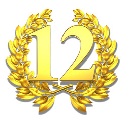 12 twelve number laurel wreath