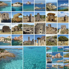 collage with touristic attractions of Sardinia