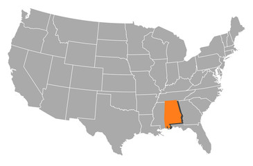 Map of the United States, Alabama highlighted