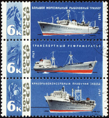 Vessels fishing fleet on post stamp