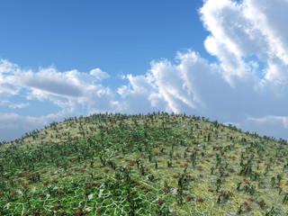 Berg mit Wolken