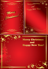 set of golden and red vector christmas frames