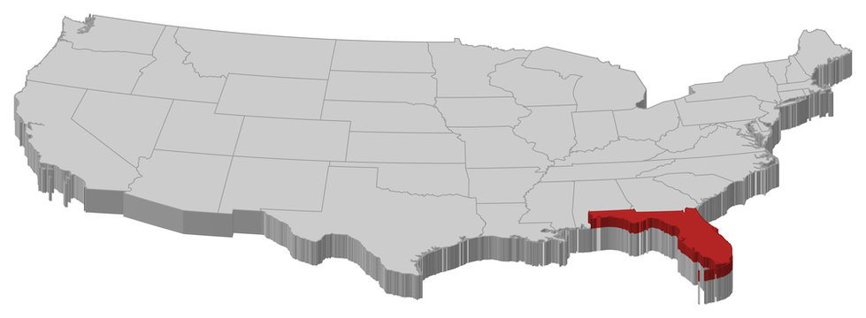 Map of the United States, Florida highlighted