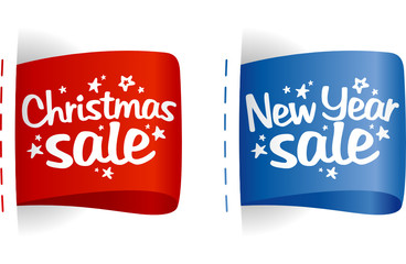 New year and Christmas Sale clothing labels