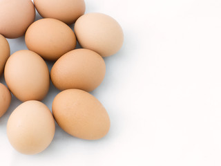 Egg group on white background