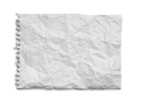 Crumpled white paper from the notebook