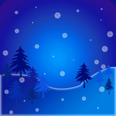 Abstract winter background with blue skies and snow