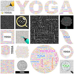 YOGA concept illustration. GREAT COLLECTION.