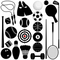 Vector silhouette: Sports Set: Balls, other exercise equipments
