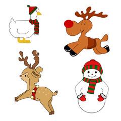 Set of isolated Christmas animals