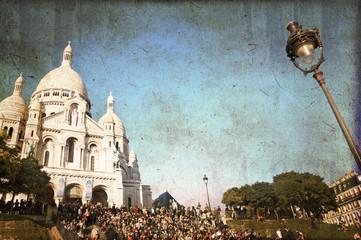 Sacré-coeur à Montmartre, style vintage - Paris