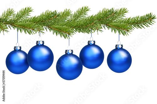 blaue weihnachtskugeln am tannenzweig stockfotos und lizenzfreie bilder auf bild. Black Bedroom Furniture Sets. Home Design Ideas