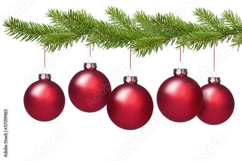 Rote weihnachtskugeln am tannenzweig stockfotos und for Weihnachtskugeln bilder