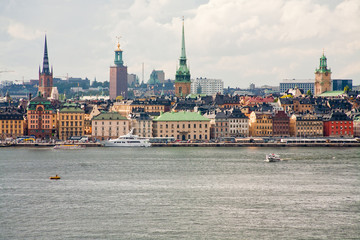 panorama of Stockholm city in autumn day, Sweden