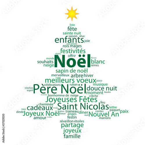 Nuage De Tags Noel Cadeaux Père Noël Arbre Sapin Carte Voeux