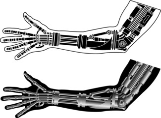 cybernetic hand with stencil. second variant