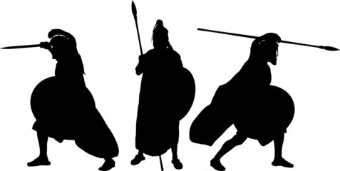 silhouettes of ancient warriors