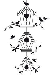 Aluminium Prints Birds in cages birdhouses with tree branches, vector