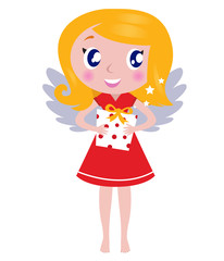 Christmas cartoon angel Girl with gift isolated on white