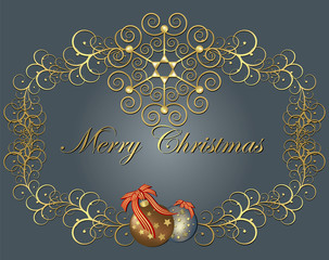 Christmas golden frame with balls. Vector isolated background