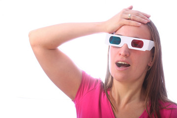 Surprised woman in 3d glasses