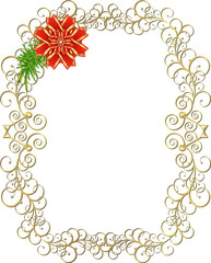 Christmas golden frame with red bow