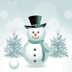 snowman and Christmas trees