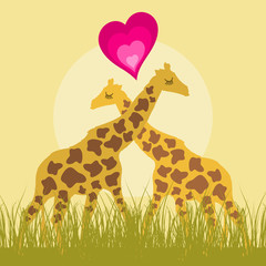 Two giraffes love each other. A vector illustration