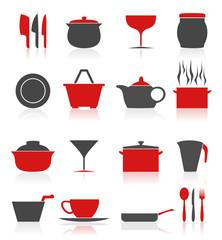 Set of icons on a theme kitchen