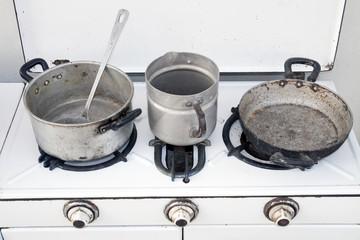 old aluminum pot