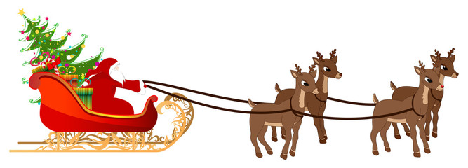 Beautiful, detailed illustration of Santa's sleigh with gifts