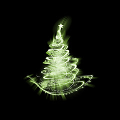 green christmas tree of light