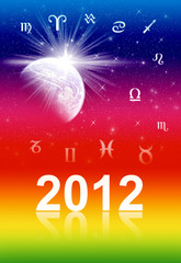 Symbols of the zodiac. Cover for book and card 2012 year