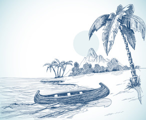 Beach sketch with boat on shore