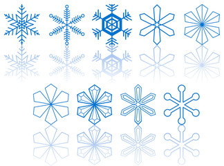 Vector snowflakes collection on a white background