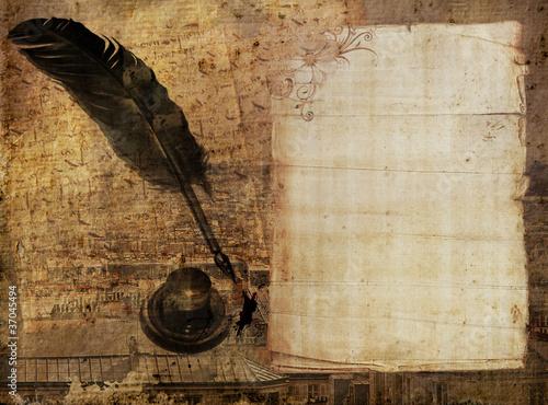 fond papier ancien plume et encrier photo libre de droits sur la banque d 39 images. Black Bedroom Furniture Sets. Home Design Ideas