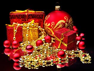 Christmas ball and ribbon.
