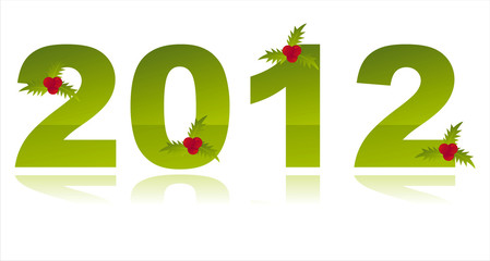 2012 decorated with berries isolated on white