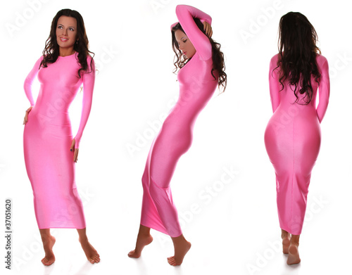 Sexy Beautiful Barefoot Girl in Pretty Pink Spandex Long Dress ...