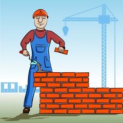 Working mason makes laying bricks.
