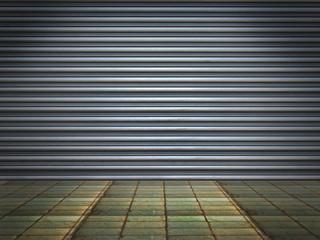 Illuminated grunge metallic roll up door.