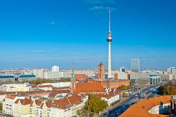Berlin Skyline with blue sky