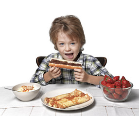 boy, breakfast, eating strawberry and pancakes