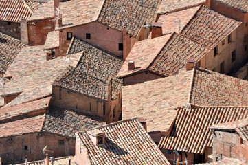Roofs of Albarracin, medieval town of Teruel, Spain