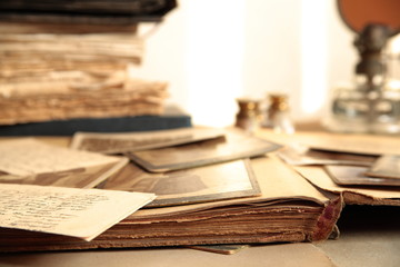 Close-up of old photos,books and letters.