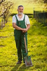 portrait of a senior man gardening in his garden