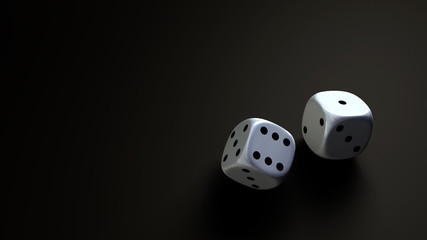 dice at black background wide